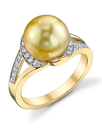 Golden Pearl & Diamond Penelope Ring
