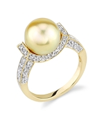 Golden Pearl Sparkling Jewel Ring