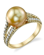 Golden Pearl & Diamond Embrace Ring
