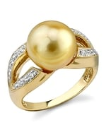 Golden Pearl & Diamond Princess Ring