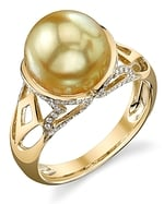 Golden Pearl & Diamond Abby Ring