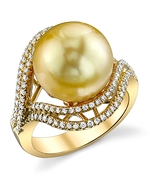 Golden Pearl & Diamond Clara Ring