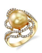 Golden Pearl & Diamond Annabelle Ring