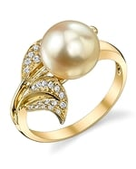 Golden South Sea Pearl & Diamond Eva Ring