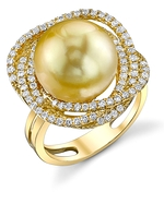 Golden Pearl & Diamond Braided Ring
