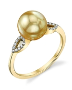Golden Pearl & Diamond Callie Ring