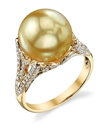 Golden Pearl & Diamond Gabriella Ring