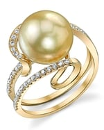 Golden Pearl & Diamond Ivy Ring