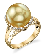 Golden Pearl & Diamond Joana Ring