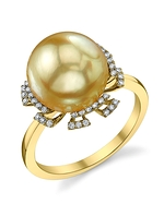 Golden Pearl & Diamond Miley Ring