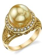 Golden South Sea Pearl & Diamond Natasha Ring