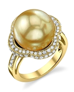 Golden South Sea Pearl & Diamond Patricia Ring