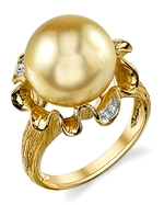 Golden Pearl & Diamond Robin Ring