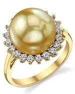 Golden Pearl & Diamond Sage Ring