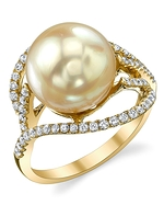 Golden South Sea Pearl & Diamond Sophia Ring