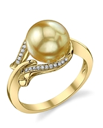 Golden Pearl & Diamond Willow Ring