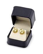 13mm Golden South Sea Pearl Stud Earrings- Choose Your Quality - Secondary Image