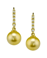 Golden Pearl Dangling Britney Earrings