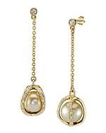 Golden South Sea Pearl & Diamond Marlo Earrings