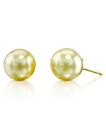 9mm Champagne Golden South Sea Pearl Stud Earrings
