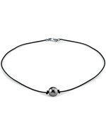Tahitian South Sea Round Pearl Leather Necklace