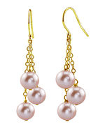 Pink Freshwater Pearl Cluster Earrings - Secondary Image
