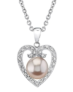 Pink Freshwater Pearl & Diamond Heart Shaped Pendant