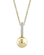 Golden Pearl Dangling Diamond Pendant