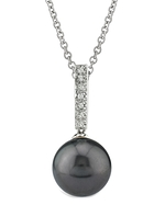 Tahitian South Sea Pearl Dangling Diamond Pendant