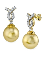 Golden South Sea Pearl & Diamond Swirl Earrings