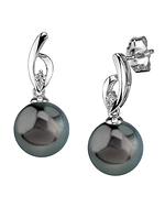 Tahitian South Sea Pearl & Diamond Lois Earrings