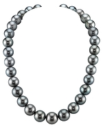 CERTIFIED 13-15mm Green Tahitian South Sea Pearl Necklace - AAAA Quality