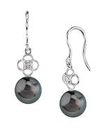 Tahitian South Sea Pearl & Diamond Lacy Earrings