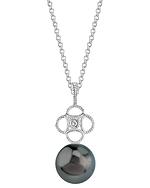 Tahitian South Sea Pearl & Diamond Lacy Pendant