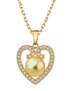 Heart Shaped Golden Pearl & Diamond Pendant