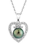 Heart Shaped Tahitian South Sea Pearl & Diamond Pendant