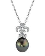 Tahitian South Sea Pearl & Diamond Fleur de Lis Pendant
