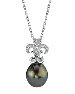 Tahitian South Sea Pearl & Diamond Fleur de Lis Pendant