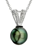 Tahitian South Sea Pearl & Diamond V-Shape Pendant
