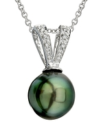 Tahitian South Sea Pearl & Diamond V-Shape Pendant
