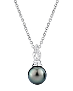 Tahitian South Sea Pearl & Diamond Wave Pendant