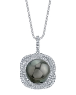 Tahitian South Sea Pearl & Diamond Braided Pendant