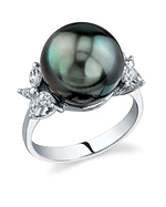 Tahitian South Sea Pearl & Diamond Floral Ring