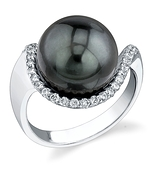 12mm Tahitian South Sea Pearl & Diamond Swing Ring