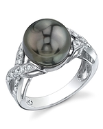 Tahitian South Sea Pearl & Diamond Infinity Ring