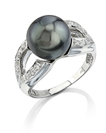 Tahitian South Sea Pearl & Diamond Princess Ring