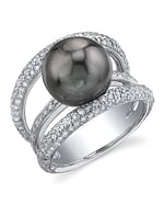 Tahitian South Sea Pearl & Diamond Eternity Ring