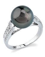 Tahitian South Sea Pearl & Diamond Embrace Ring