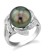 Tahitian South Sea Pearl & Diamond Nova Ring
