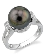 Tahitian South Sea Pearl & Diamond Nicole Ring